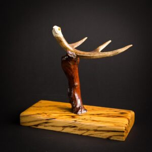 Eagle Antler Carving- Osage Orange/Buckeye